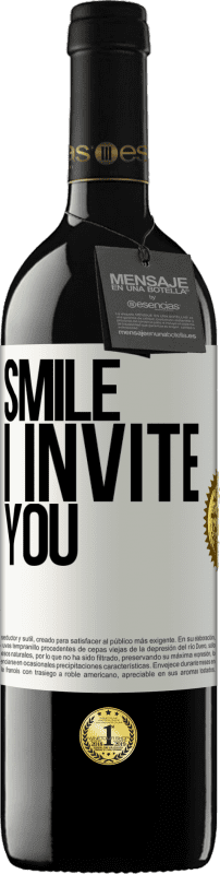 24,95 € Free Shipping | Red Wine RED Edition Crianza 6 Months Smile I invite you White Label. Customizable label Aging in oak barrels 6 Months Harvest 2018 Tempranillo