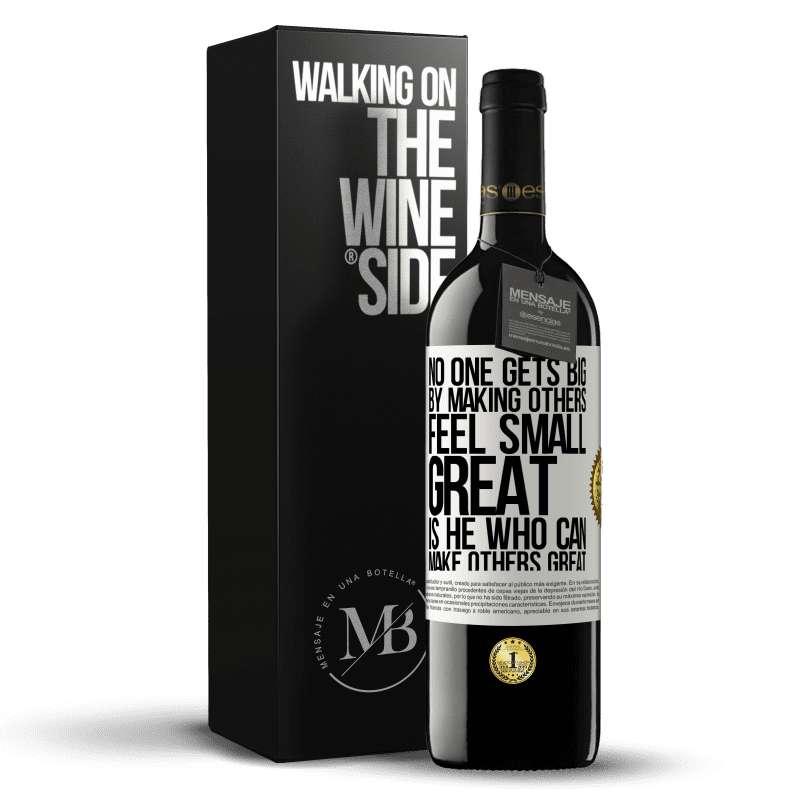 24,95 € Free Shipping | Red Wine RED Edition Crianza 6 Months No one gets big by making others feel small. Great is he who can make others great White Label. Customizable label Aging in oak barrels 6 Months Harvest 2018 Tempranillo