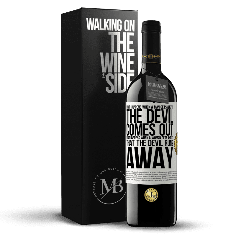 24,95 € Free Shipping | Red Wine RED Edition Crianza 6 Months what happens when a man gets angry? The devil comes out. What happens when a woman gets angry? That the devil runs away White Label. Customizable label Aging in oak barrels 6 Months Harvest 2018 Tempranillo