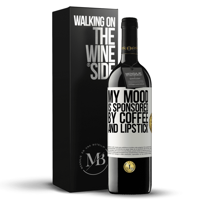 24,95 € Free Shipping | Red Wine RED Edition Crianza 6 Months My mood is sponsored by coffee and lipstick White Label. Customizable label Aging in oak barrels 6 Months Harvest 2018 Tempranillo
