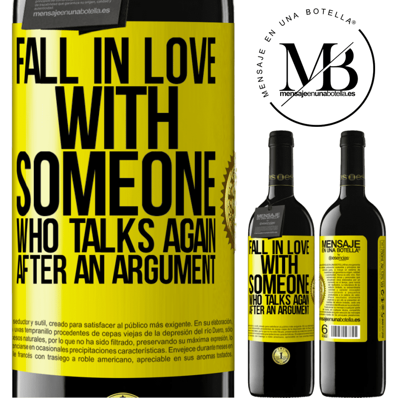 24,95 € Free Shipping | Red Wine RED Edition Crianza 6 Months Fall in love with someone who talks again after an argument Yellow Label. Customizable label Aging in oak barrels 6 Months Harvest 2018 Tempranillo