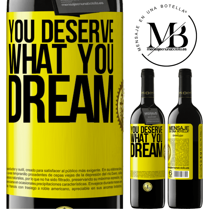 24,95 € Free Shipping | Red Wine RED Edition Crianza 6 Months You deserve what you dream Yellow Label. Customizable label Aging in oak barrels 6 Months Harvest 2018 Tempranillo