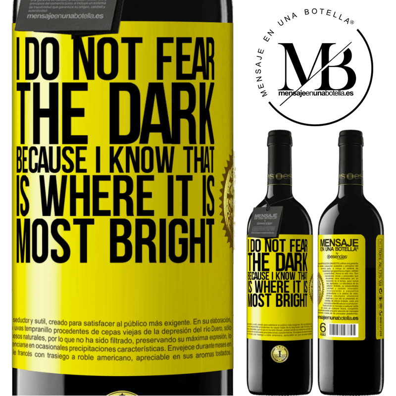 24,95 € Free Shipping | Red Wine RED Edition Crianza 6 Months I do not fear the dark, because I know that is where it is most bright Yellow Label. Customizable label Aging in oak barrels 6 Months Harvest 2018 Tempranillo