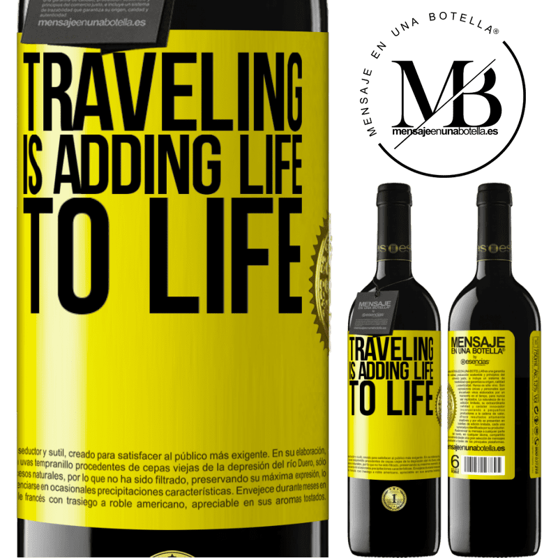 24,95 € Free Shipping | Red Wine RED Edition Crianza 6 Months Traveling is adding life to life Yellow Label. Customizable label Aging in oak barrels 6 Months Harvest 2018 Tempranillo