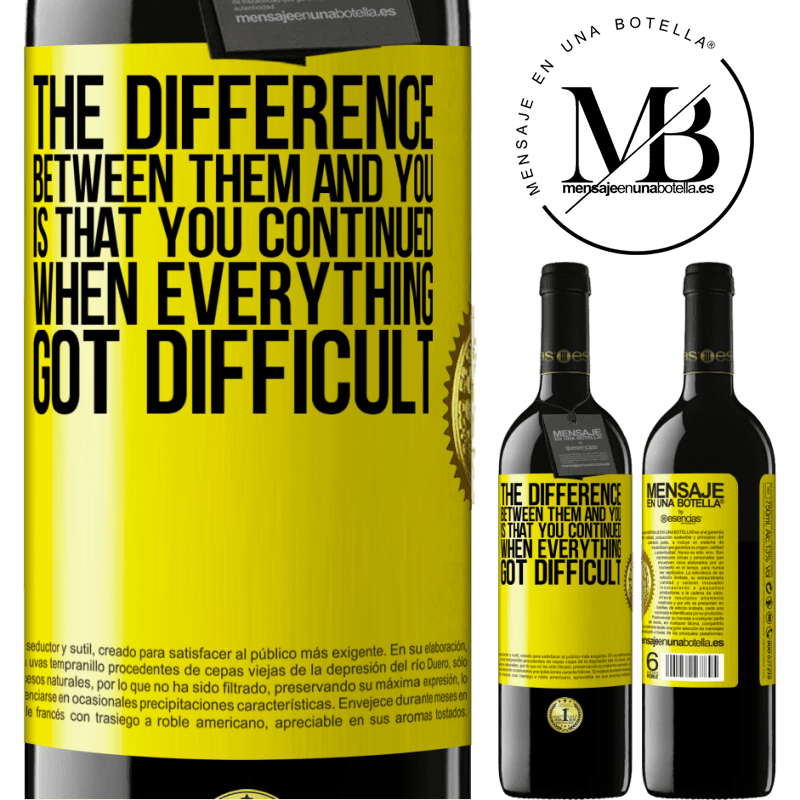 24,95 € Free Shipping | Red Wine RED Edition Crianza 6 Months The difference between them and you, is that you continued when everything got difficult Yellow Label. Customizable label Aging in oak barrels 6 Months Harvest 2018 Tempranillo