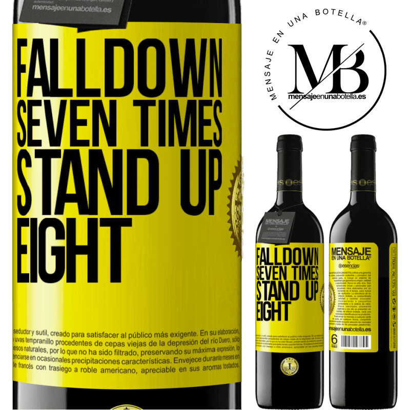 24,95 € Free Shipping | Red Wine RED Edition Crianza 6 Months Falldown seven times. Stand up eight Yellow Label. Customizable label Aging in oak barrels 6 Months Harvest 2018 Tempranillo