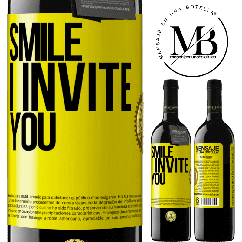 24,95 € Free Shipping | Red Wine RED Edition Crianza 6 Months Smile I invite you Yellow Label. Customizable label Aging in oak barrels 6 Months Harvest 2018 Tempranillo