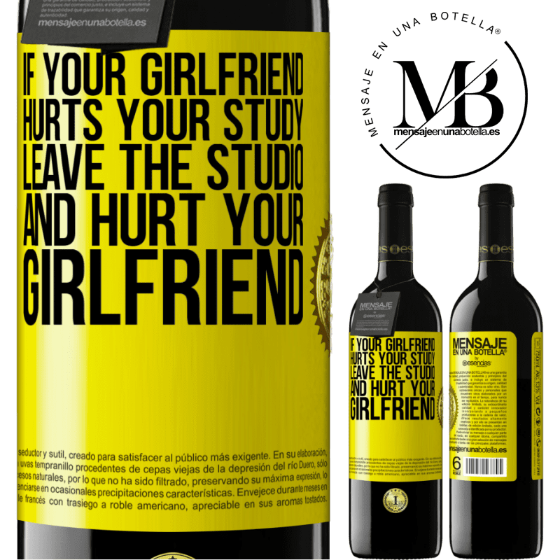 24,95 € Free Shipping | Red Wine RED Edition Crianza 6 Months If your girlfriend hurts your study, leave the studio and hurt your girlfriend Yellow Label. Customizable label Aging in oak barrels 6 Months Harvest 2018 Tempranillo