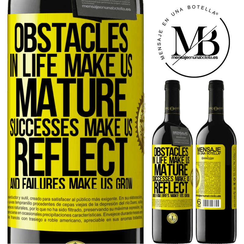 24,95 € Free Shipping   Red Wine RED Edition Crianza 6 Months Obstacles in life make us mature, successes make us reflect, and failures make us grow Yellow Label. Customizable label Aging in oak barrels 6 Months Harvest 2018 Tempranillo