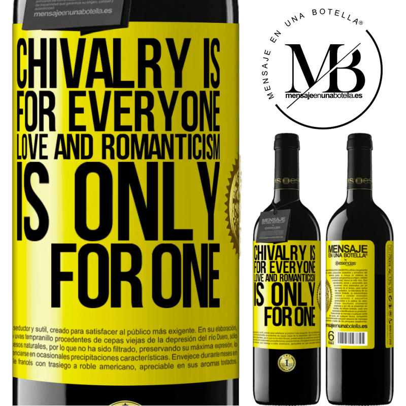 24,95 € Free Shipping | Red Wine RED Edition Crianza 6 Months Chivalry is for everyone. Love and romanticism is only for one Yellow Label. Customizable label Aging in oak barrels 6 Months Harvest 2018 Tempranillo