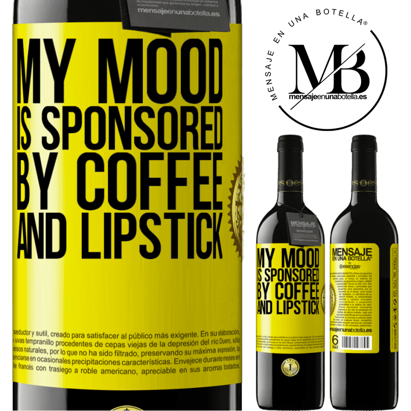 24,95 € Free Shipping | Red Wine RED Edition Crianza 6 Months My mood is sponsored by coffee and lipstick Yellow Label. Customizable label Aging in oak barrels 6 Months Harvest 2018 Tempranillo
