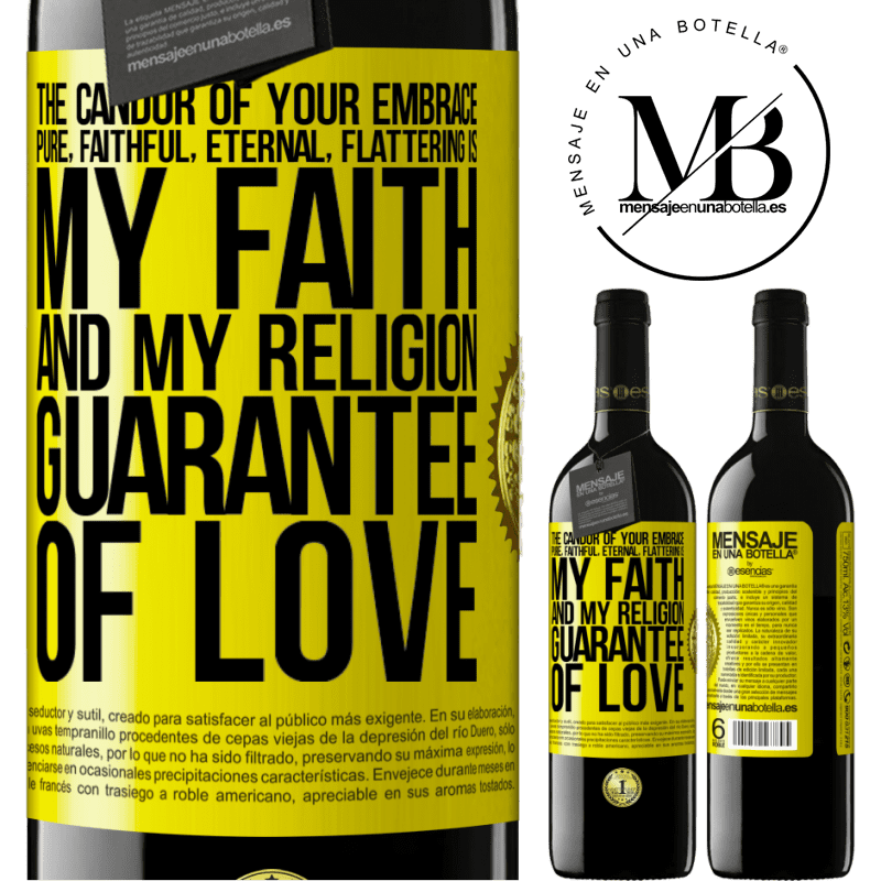 24,95 € Free Shipping | Red Wine RED Edition Crianza 6 Months The candor of your embrace, pure, faithful, eternal, flattering, is my faith and my religion, guarantee of love Yellow Label. Customizable label Aging in oak barrels 6 Months Harvest 2018 Tempranillo