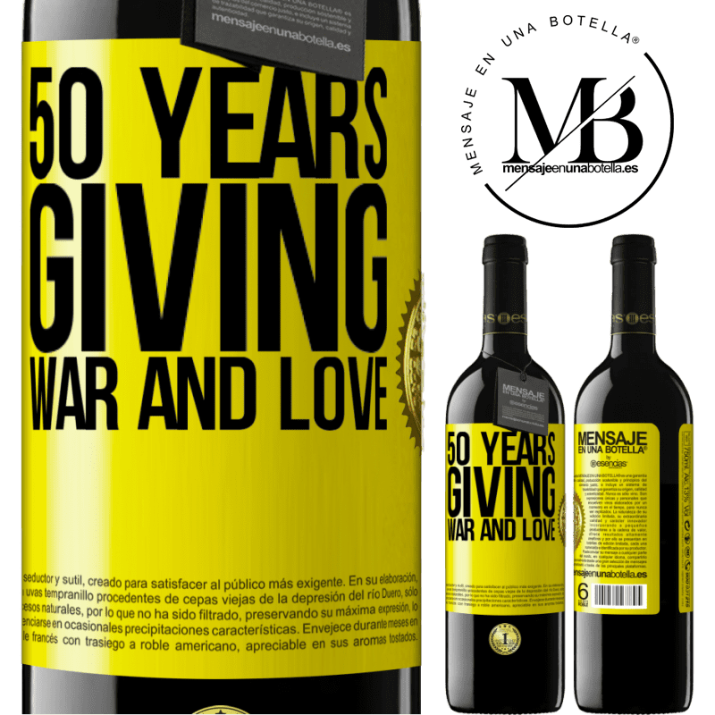 24,95 € Free Shipping | Red Wine RED Edition Crianza 6 Months 50 years giving war and love Yellow Label. Customizable label Aging in oak barrels 6 Months Harvest 2018 Tempranillo