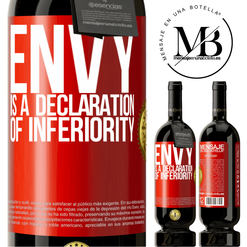 29,95 € Free Shipping | Red Wine Premium Edition MBS® Reserva Envy is a declaration of inferiority Red Label. Customizable label Reserva 12 Months Harvest 2013 Tempranillo