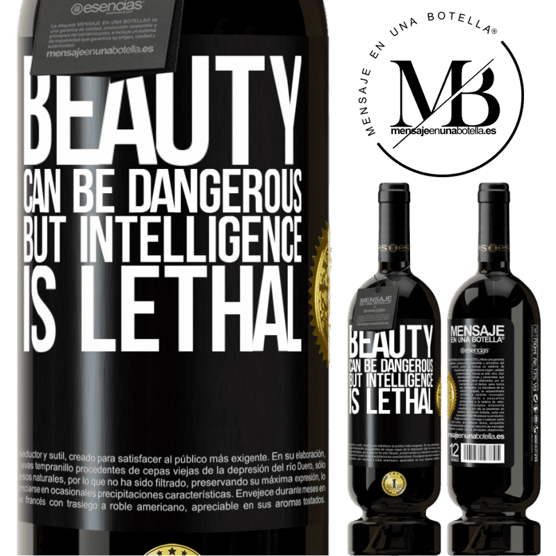 29,95 € Free Shipping | Red Wine Premium Edition MBS® Reserva Beauty can be dangerous, but intelligence is lethal Black Label. Customizable label Reserva 12 Months Harvest 2013 Tempranillo