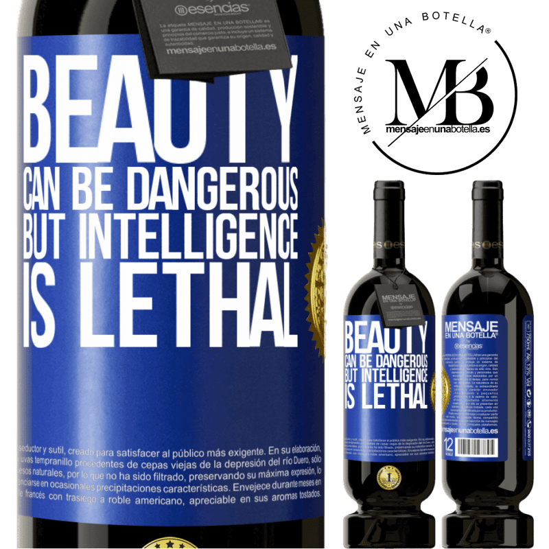 29,95 € Free Shipping | Red Wine Premium Edition MBS® Reserva Beauty can be dangerous, but intelligence is lethal Blue Label. Customizable label Reserva 12 Months Harvest 2013 Tempranillo