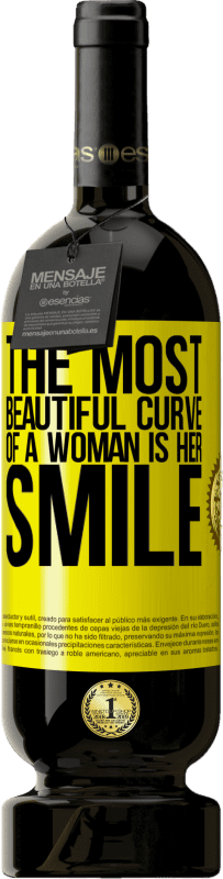 29,95 € Free Shipping | Red Wine Premium Edition MBS® Reserva The most beautiful curve of a woman is her smile Yellow Label. Customizable label Reserva 12 Months Harvest 2013 Tempranillo