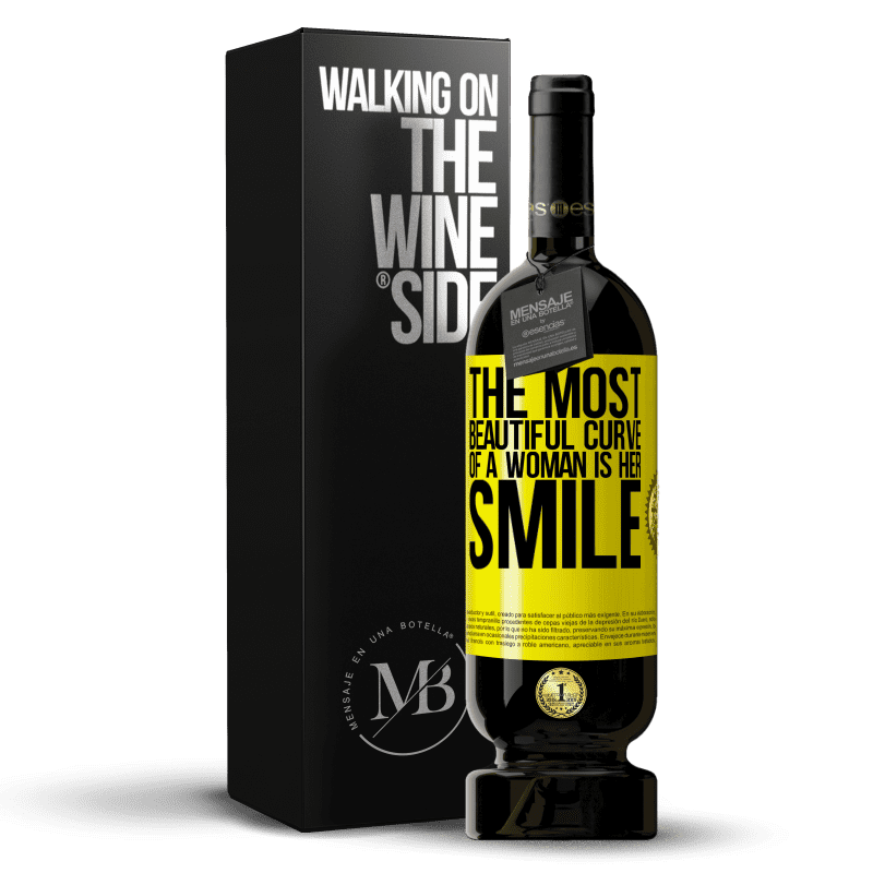 29,95 € Free Shipping   Red Wine Premium Edition MBS® Reserva The most beautiful curve of a woman is her smile Yellow Label. Customizable label Reserva 12 Months Harvest 2013 Tempranillo
