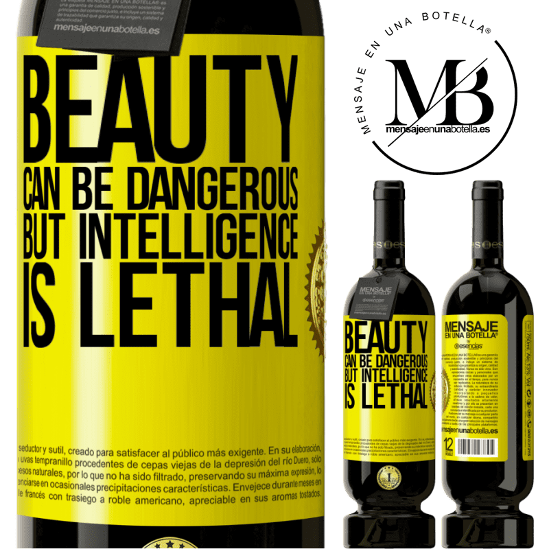 29,95 € Free Shipping | Red Wine Premium Edition MBS® Reserva Beauty can be dangerous, but intelligence is lethal Yellow Label. Customizable label Reserva 12 Months Harvest 2013 Tempranillo