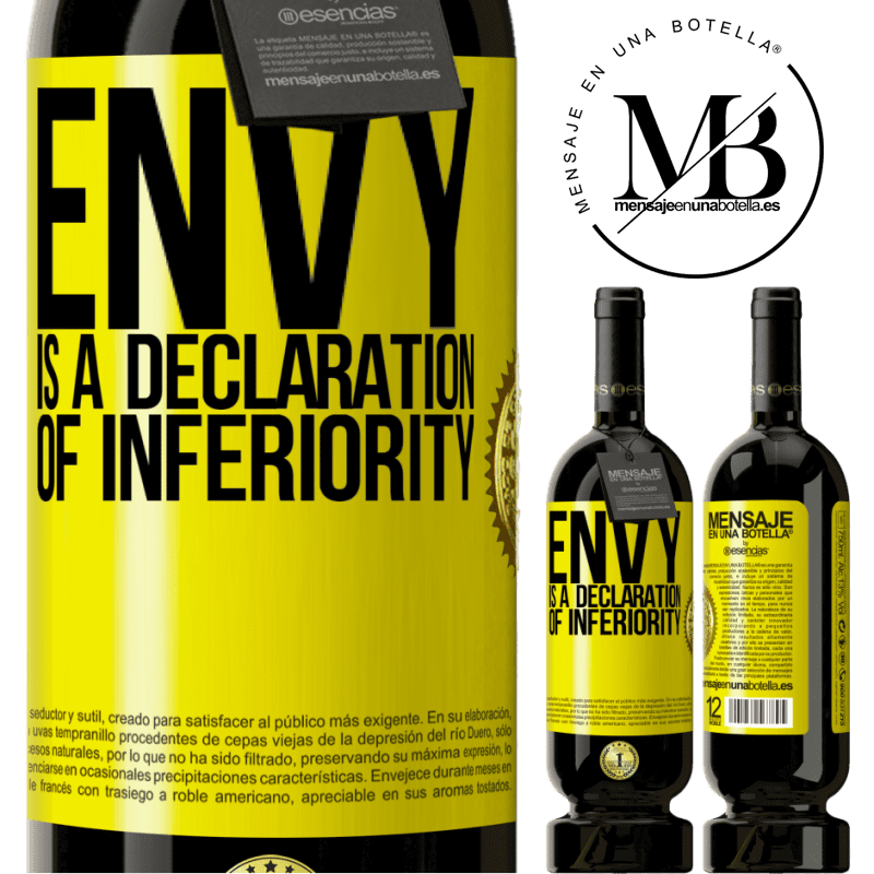 29,95 € Free Shipping | Red Wine Premium Edition MBS® Reserva Envy is a declaration of inferiority Yellow Label. Customizable label Reserva 12 Months Harvest 2013 Tempranillo
