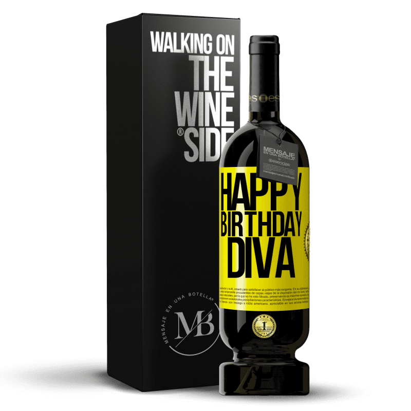 29,95 € Free Shipping | Red Wine Premium Edition MBS® Reserva Happy birthday Diva Yellow Label. Customizable label Reserva 12 Months Harvest 2013 Tempranillo