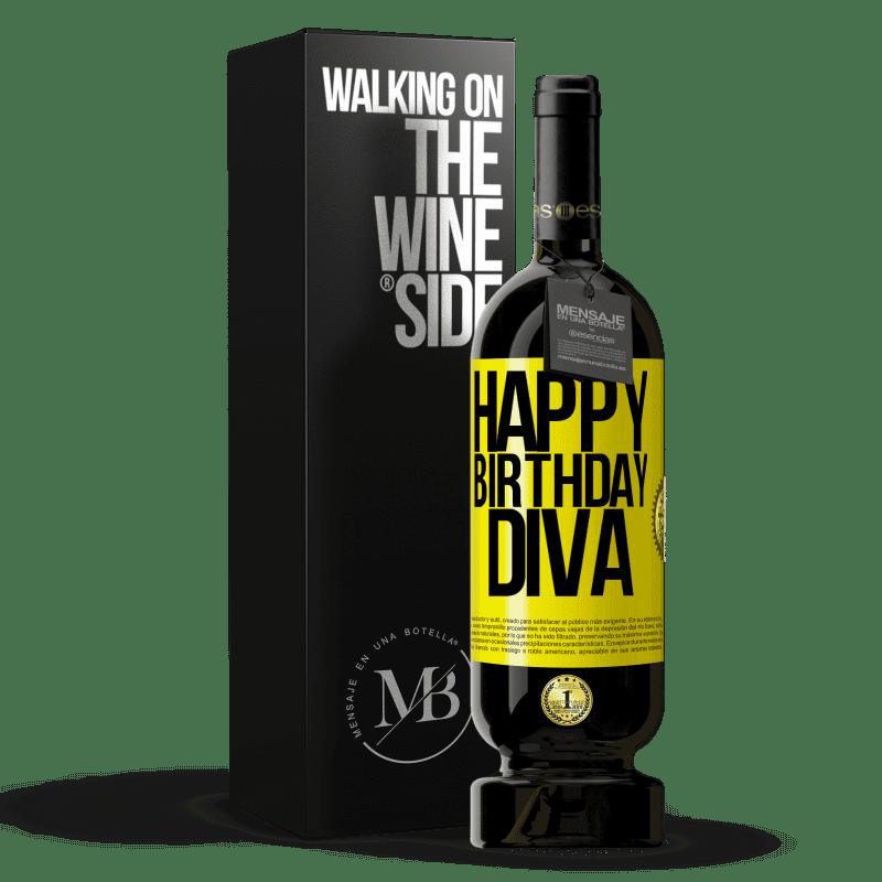 29,95 € Envoi gratuit | Vin rouge Édition Premium MBS® Reserva Joyeux anniversaire Diva Étiquette Jaune. Étiquette personnalisable Reserva 12 Mois Récolte 2013 Tempranillo