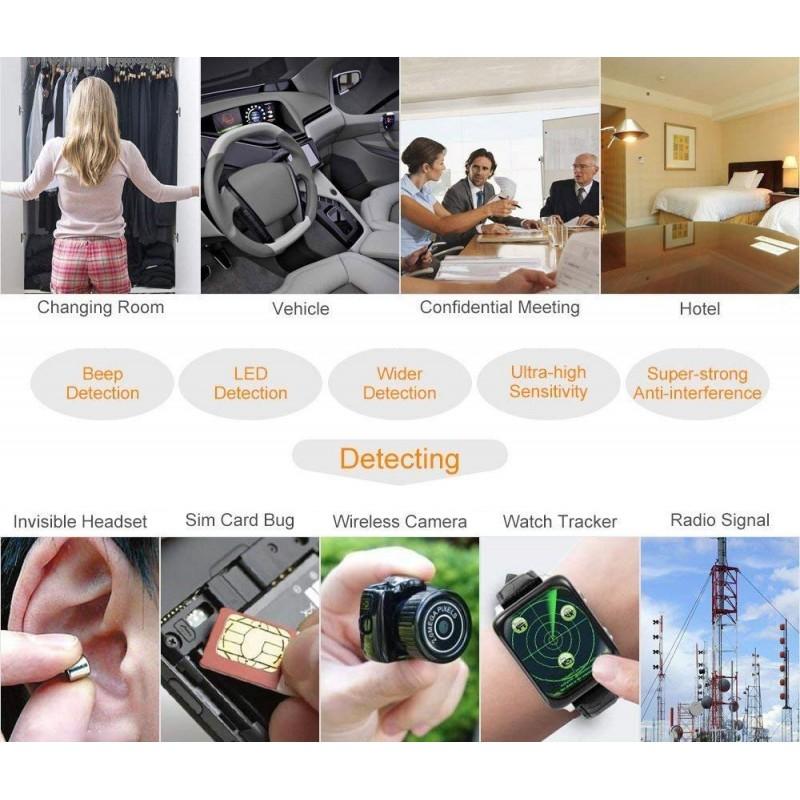 59,95 € Бесплатная доставка   Сигнальные 1 МГц-8000 МГц Радиочастотный детектор. Детектор скрытой камеры. GSM и шпион аудио-искатель. RF трекер детектор