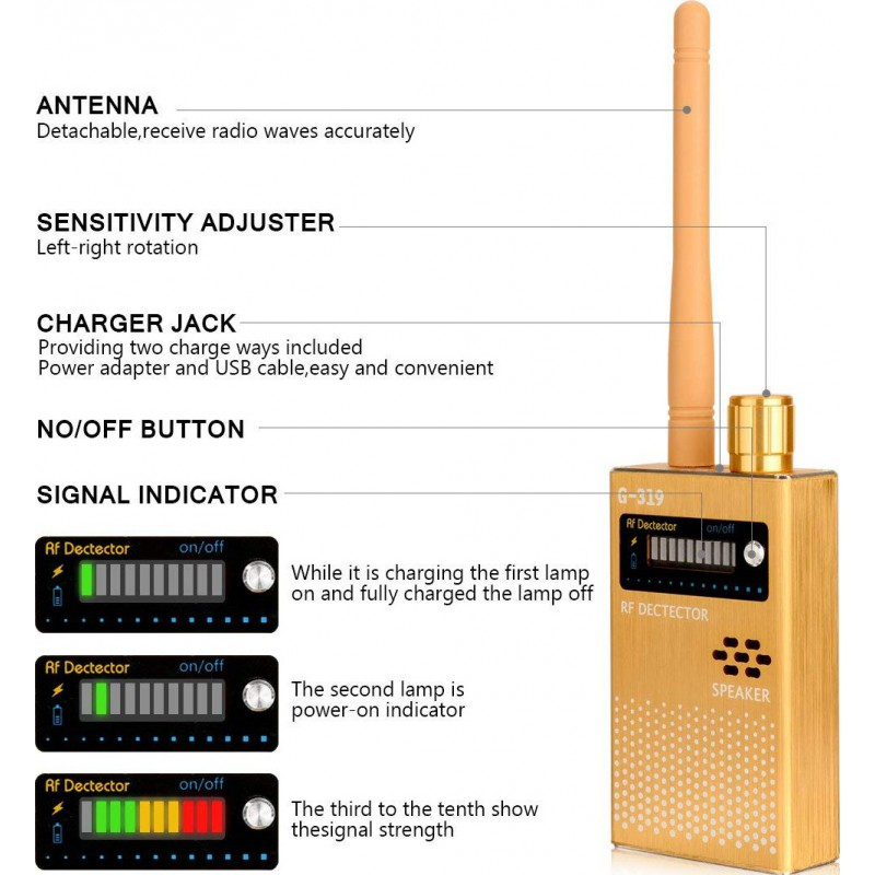 59,95 € Free Shipping | Signal Detectors 1MHz-8000MHz Radio frequency detector. Hidden camera detector. GSM and spy audio finder. RF Tracker detector