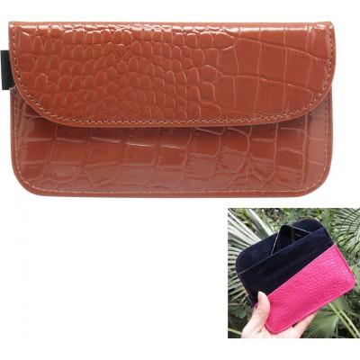 Krokodil PU-Leder-Anti-Strahlungs-Schutztasche. Etui zur Signalblockierung für Smartphones. Braune Farbe. 6,1 x 3,3 Zoll