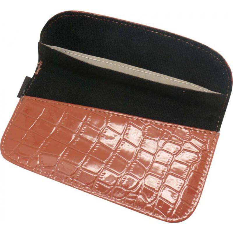 Störsender-Zusätze Krokodil PU-Leder-Anti-Strahlungs-Schutztasche. Etui zur Signalblockierung für Smartphones. Braune Farbe. 6,1 x 3,3 Zoll
