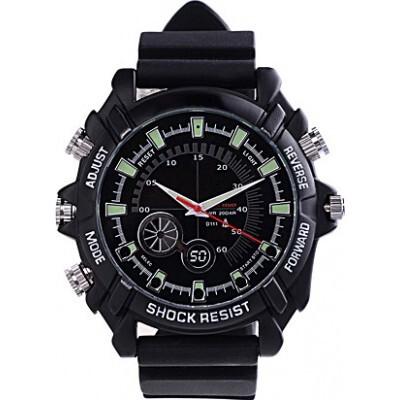 53,95 € Бесплатная доставка | Шпионские наручные часы Инфракрасная HD Водонепроницаемая шпионская камера. Мини цифровой видеомагнитофон (DVR) 8 Gb 1080P Full HD