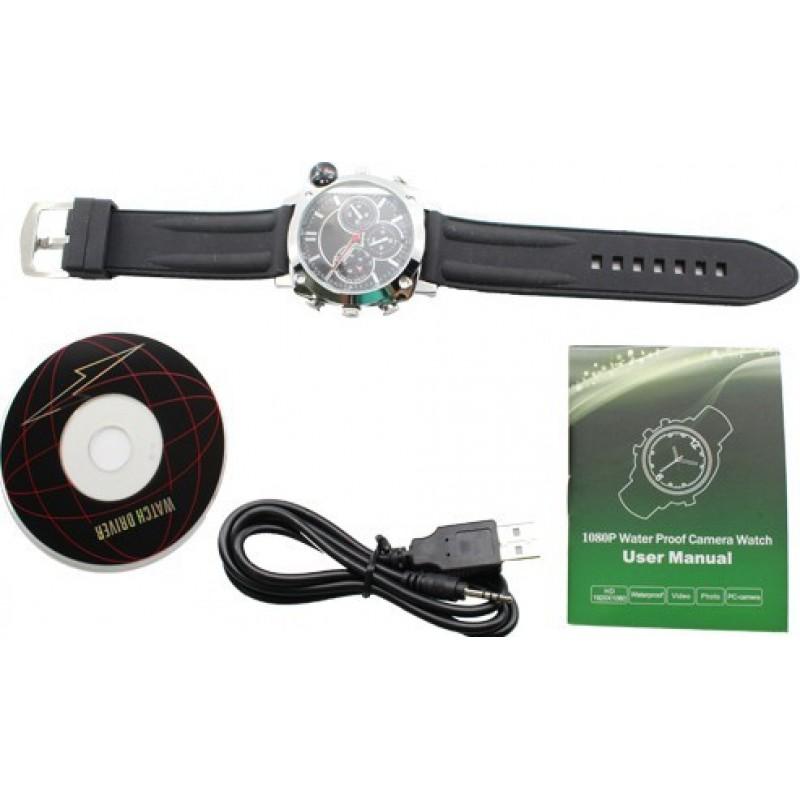 63,95 € Envoi gratuit | Montres à Bracelet Espion Montre-bracelet espion. Caméra cachée. Enregistrement vidéo numérique. Ceinture en cuir. Imperméable. Boussole 8 Gb 1080P Full HD