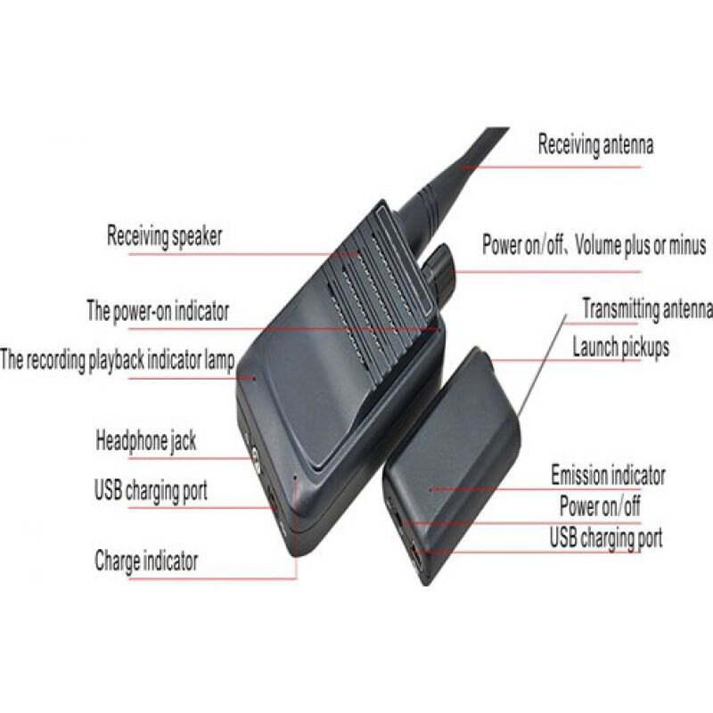 Détecteurs de Signal Système de transmission audio sans fil. Dispositif portable de surveillance de l'espion vocal. Portée de 500 mètres