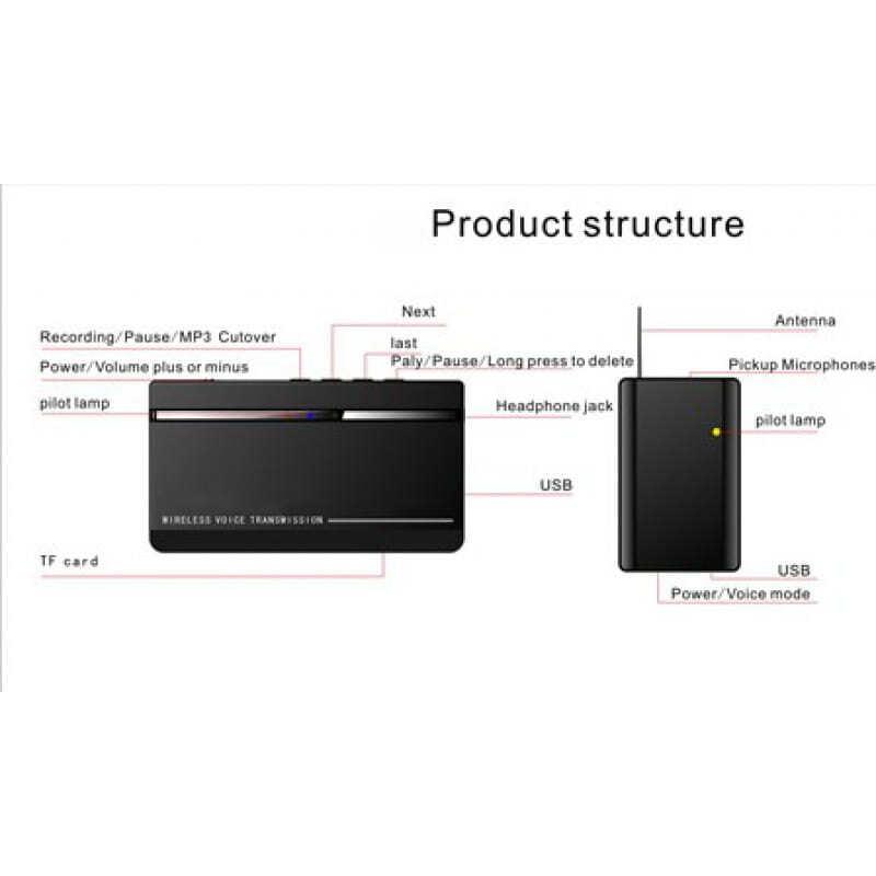 Détecteurs de Signal Mini surveillance audio sans fil. Kits émetteur et récepteur. Temps d'attente ultra long. Large plage de fonctionnement