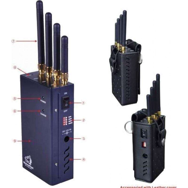 62,95 € 免费送货   手机干扰器 便携式信号阻断器,带可选按钮 Cell phone Portable