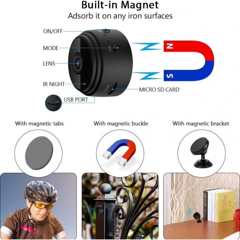 49,95 € Free Shipping | Other Hidden Cameras Small Hidden Video Camera. WiFi. Wireless. 1080P Full HD. Night Vision. Motion detection