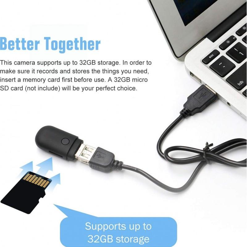 39,95 € Бесплатная доставка | USB-накопители Spy Скрытая шпионская камера. USB 2.0. 960P. Шпионская камера со встроенным микрофоном. Запись видео и аудио