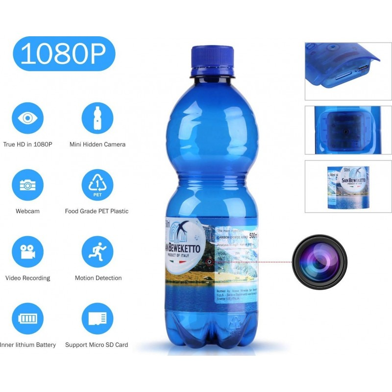 25,95 € Free Shipping | Hidden Spy Gadgets Bottle of water with Spy camera. 1080P. HD. Mini hidden camera. Security camera. Motion detection