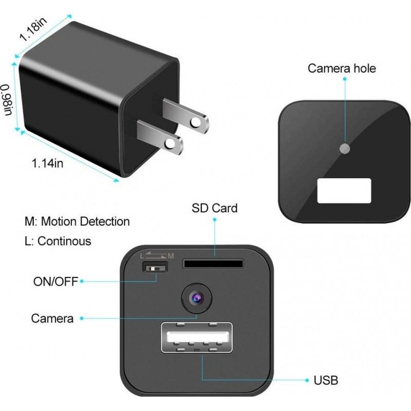 41,95 € Free Shipping   Hidden Spy Accessories Small Camcorder for Video surveillance. Mini Spy Camera. Nanny Cam. HD 1080P. Motion Detection. 16G SD Card