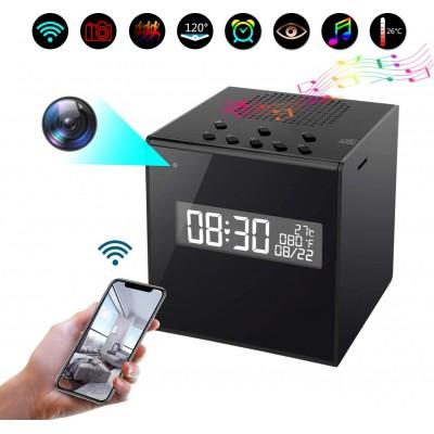 74,95 € 送料無料 | 時計隠しカメラ カメラ付きスピーカー。クロック。警報。温度。 Wi-Fi。 HD。夜間視力。無線。動体検知