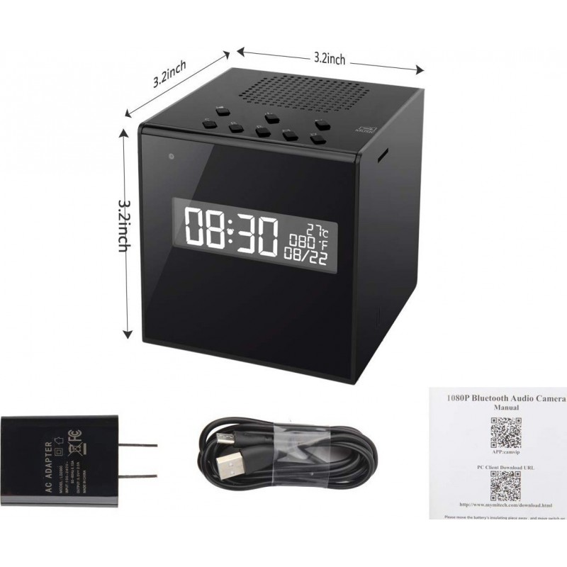 74,95 € Kostenloser Versand | Uhren mit versteckten Kameras Lautsprecher Mit Kamera. Uhr. Alarm. Temperatur. W-lan. HD. Nachtsicht. Kabellos. Bewegungserkennung
