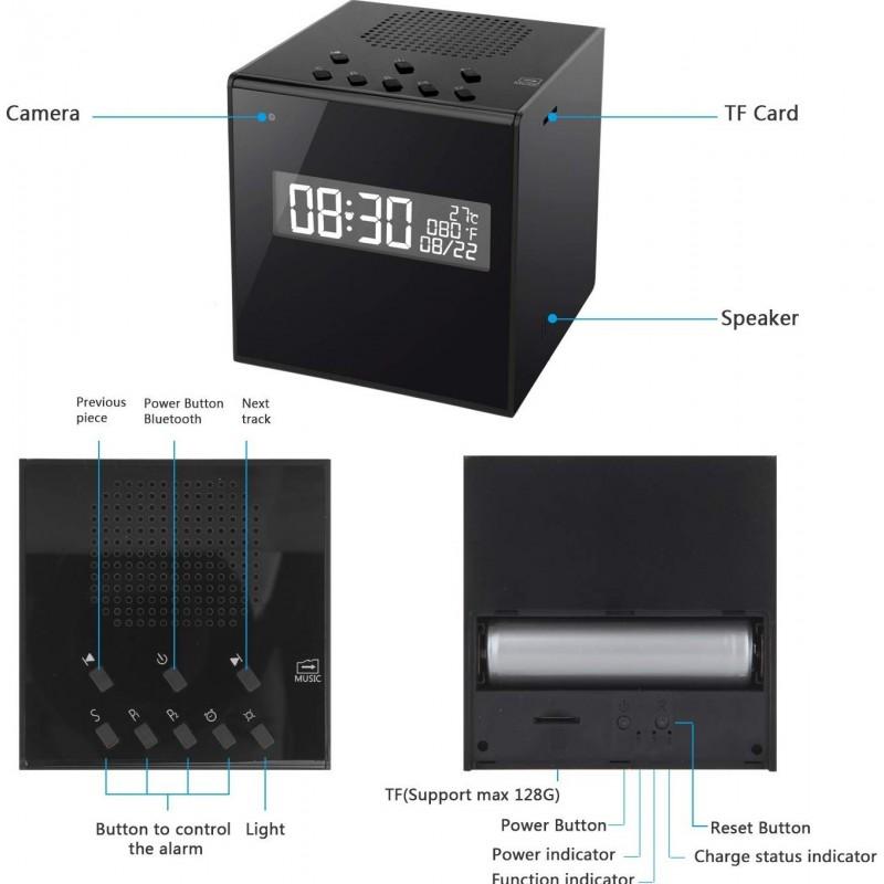 74,95 € 免费送货 | 时钟隐藏的相机 扬声器与相机。时钟。报警。温度。无线上网。高清夜间视力。无线。运动检测