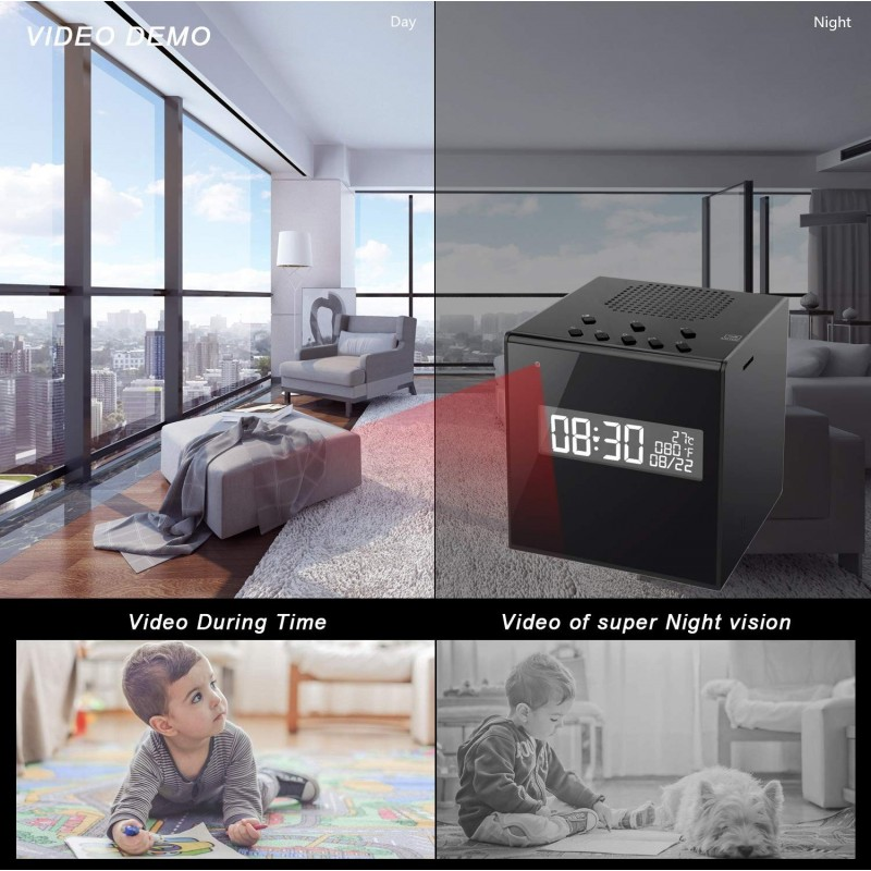 74,95 € Free Shipping | Clock Hidden Cameras Speaker With Camera. Clock. Alarm. Temperature. WiFi. HD. Night Vision. Wireless. Motion Detection