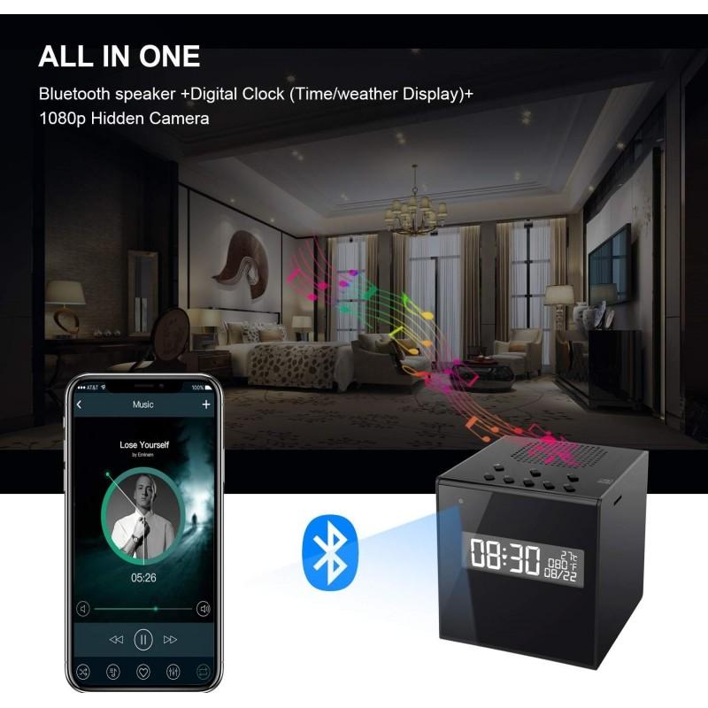 74,95 € Envío gratis   Relojes Espía Altavoz Con Cámara. Reloj. Alarma. Temperatura. Wifi. HD Vision nocturna. Inalámbrico. Detección de movimiento