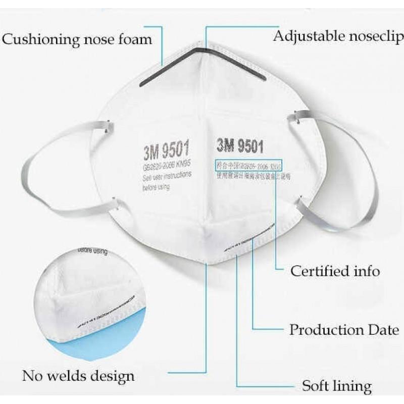 379,95 € 送料無料 | 100個入りボックス 呼吸保護マスク 3M モデル9501 KN95 FFP2。呼吸保護マスク。 PM2.5汚染防止マスク。粒子フィルターマスク