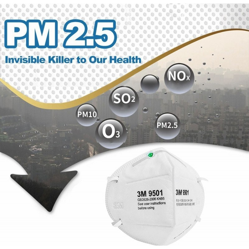 405,95 € Free Shipping | 100 units box Respiratory Protection Masks 3M Model 9501 KN95 FFP2. Respiratory protection mask. PM2.5 anti-pollution mask. Particle filter respirator