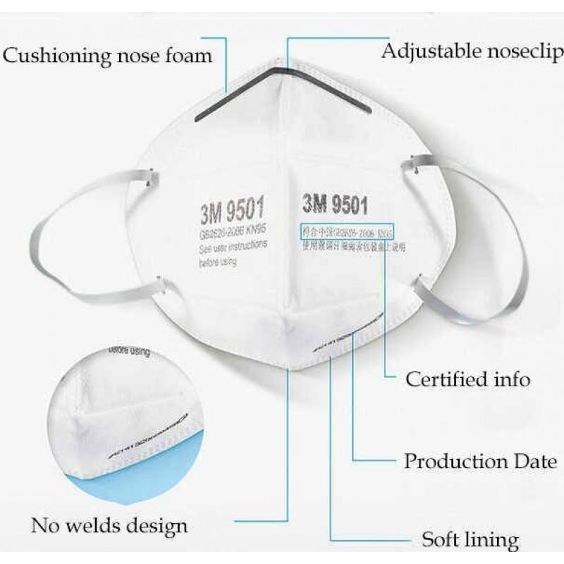 Caixa de 2 unidades Máscaras Proteção Respiratória 3M Modelo 9501 KN95 FFP2. Máscara de proteção respiratória. Máscara anti-poluição PM2.5. Filtro de partículas