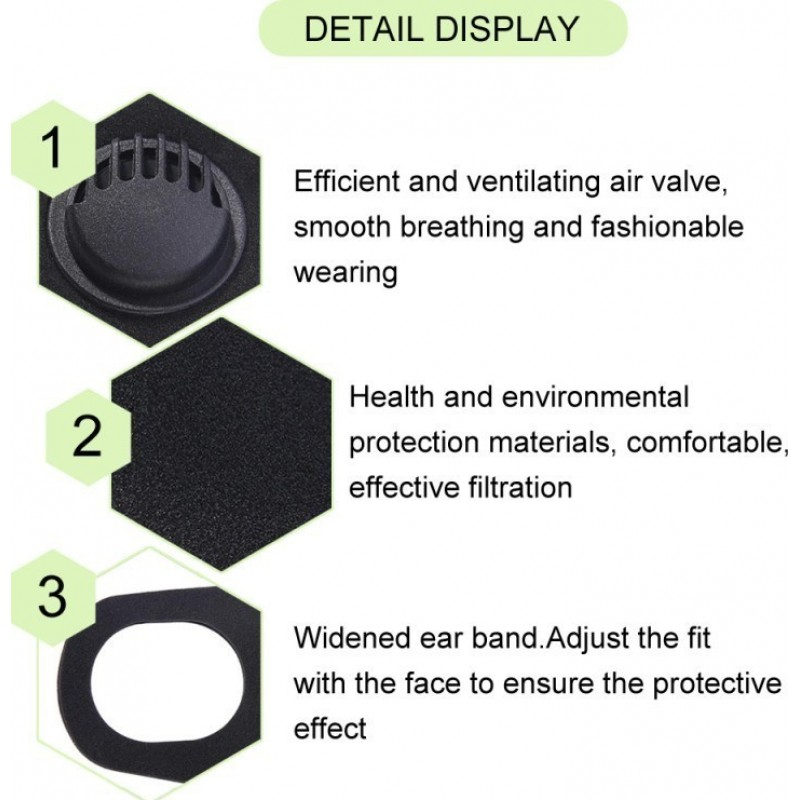239,95 € Envio grátis | Caixa de 100 unidades Máscaras Proteção Respiratória Máscara de filtro de carvão ativado com válvula de respiração. PM2.5. Máscara de algodão lavável e reutilizável. Unissex