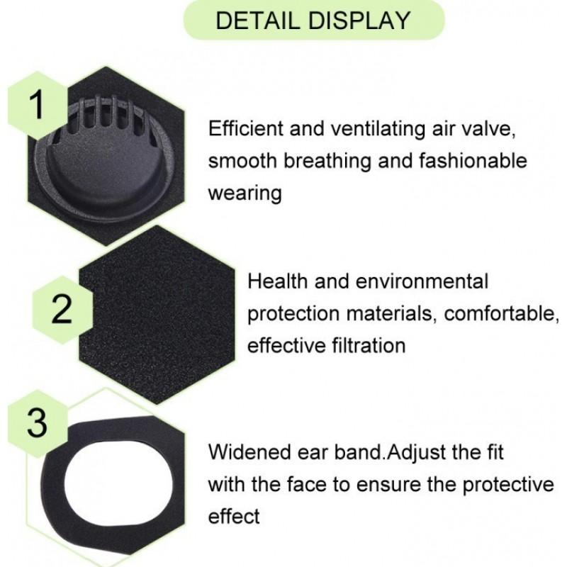 239,95 € Бесплатная доставка | Коробка из 100 единиц Респираторные защитные маски Фильтровальная маска с активированным углем с дыхательным клапаном. PM2.5. Моющаяся и многоразовая хлопковая маска. унисекс