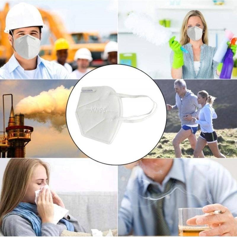 Scatola da 10 unità Maschere Protezione Respiratorie KN95 95% di filtrazione. Maschera respiratoria protettiva. PM2.5. Protezione a cinque strati. Virus e batteri anti infezioni